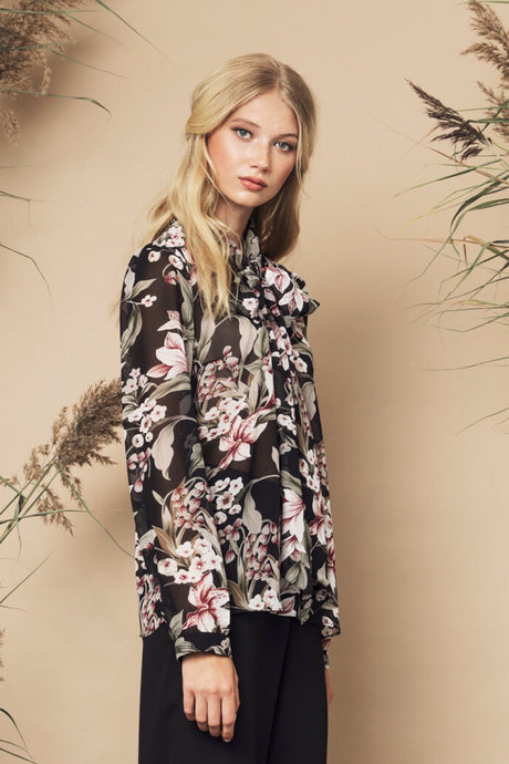 Peony Blouse Black Floral