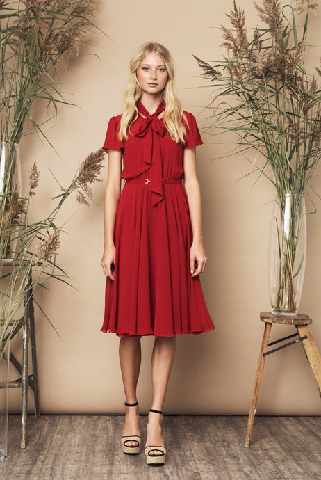 Polly Dress Red & Navy