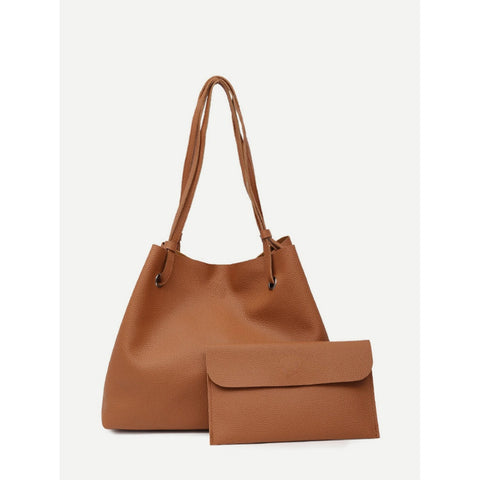 Faux Leather Tote Bag With Clutch - Tan