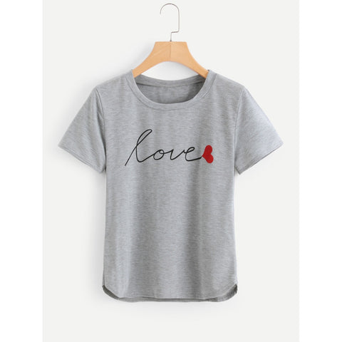 Women's Love Script T-Shirt - Gray