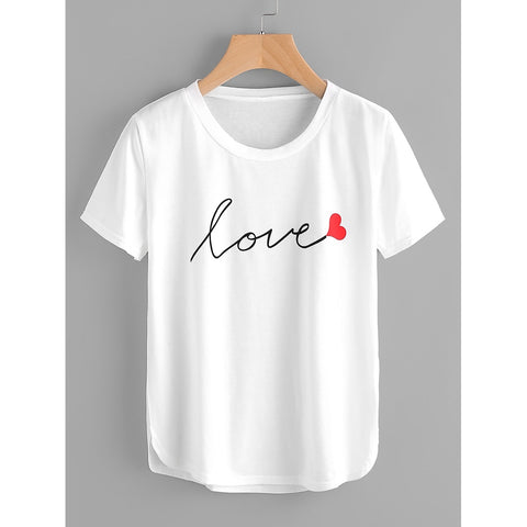 Women's Love Script T-Shirt - White