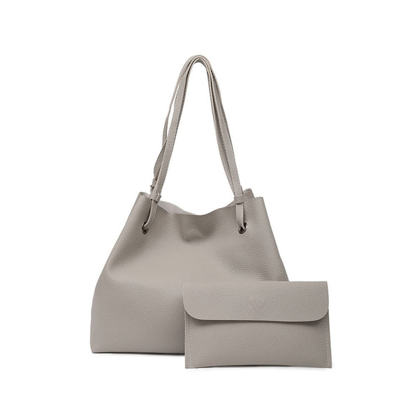 Faux Leather Tote Bag With Clutch - Stone