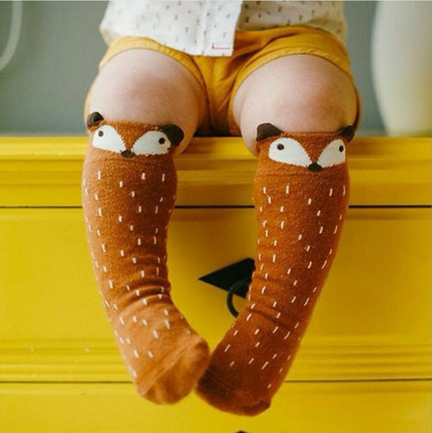Brown Fox Knee High Baby Socks