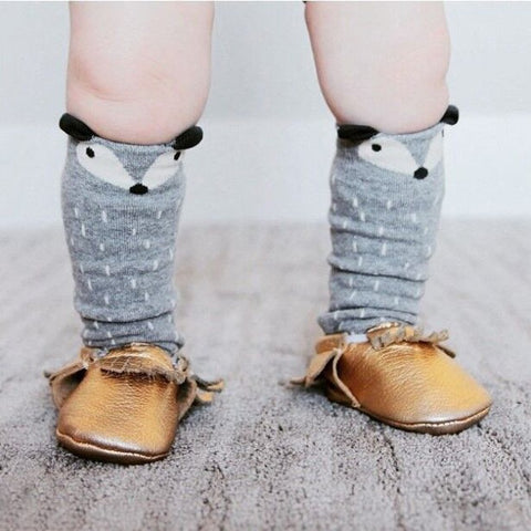 Gray Fox Knee High Baby Socks