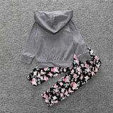 Gray and Floral Hoodie and Pant 2 Piece Set