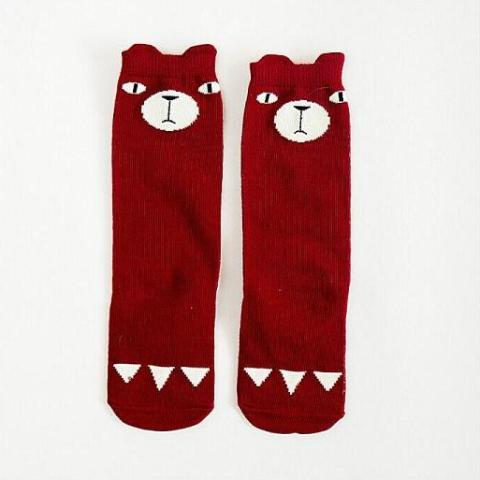 Red Bear Knee High Animal Baby Socks