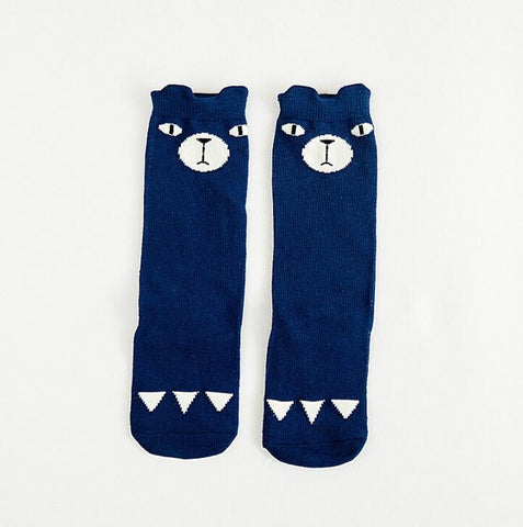 Blue Bear Knee High Animal Baby Socks