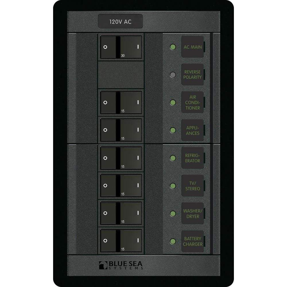 Blue Sea System Qualifies for Free Shipping Blue Sea 6-Position 360 AC Rocker Style Main Breaker Panel #1202