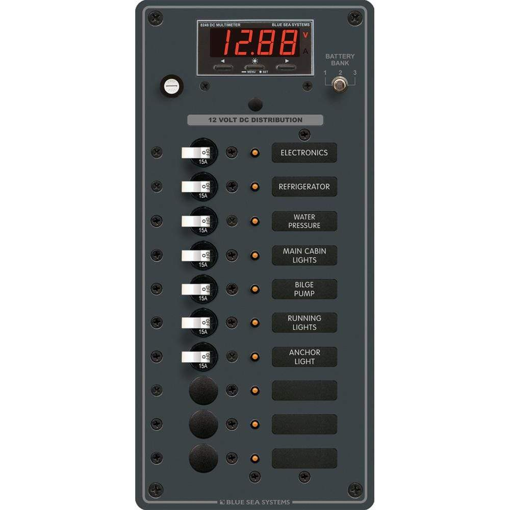 Blue Sea System Qualifies for Free Shipping Blue Sea DC Panel 10-Position with Multimeter #8402