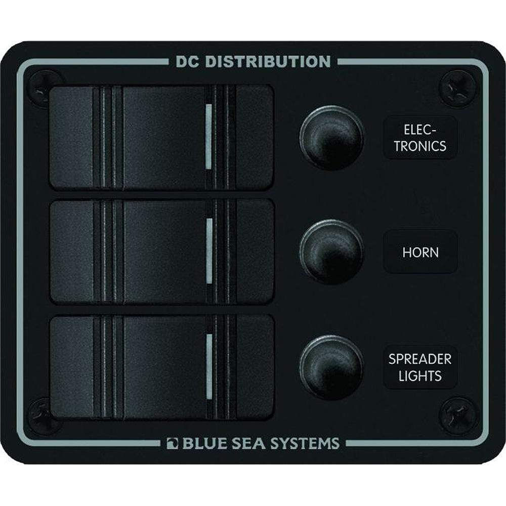 Blue Sea System Qualifies for Free Shipping Blue Sea Water Resistant 3-Position Black Vertical Mount Panel #8374