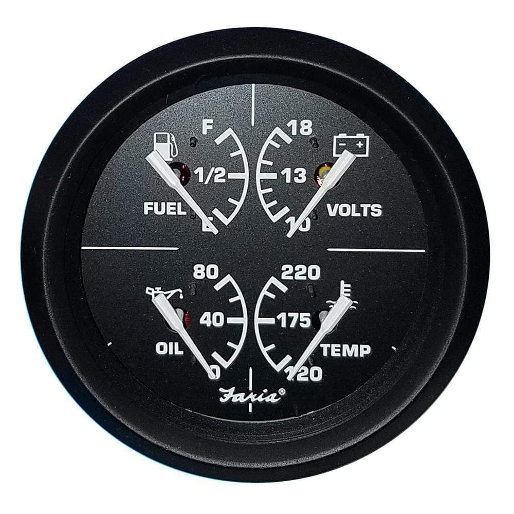 "Faria Qualifies for Free Shipping Faria 4"" 4-in-1 Multifunction Gauge Volt 10-16v #32851"