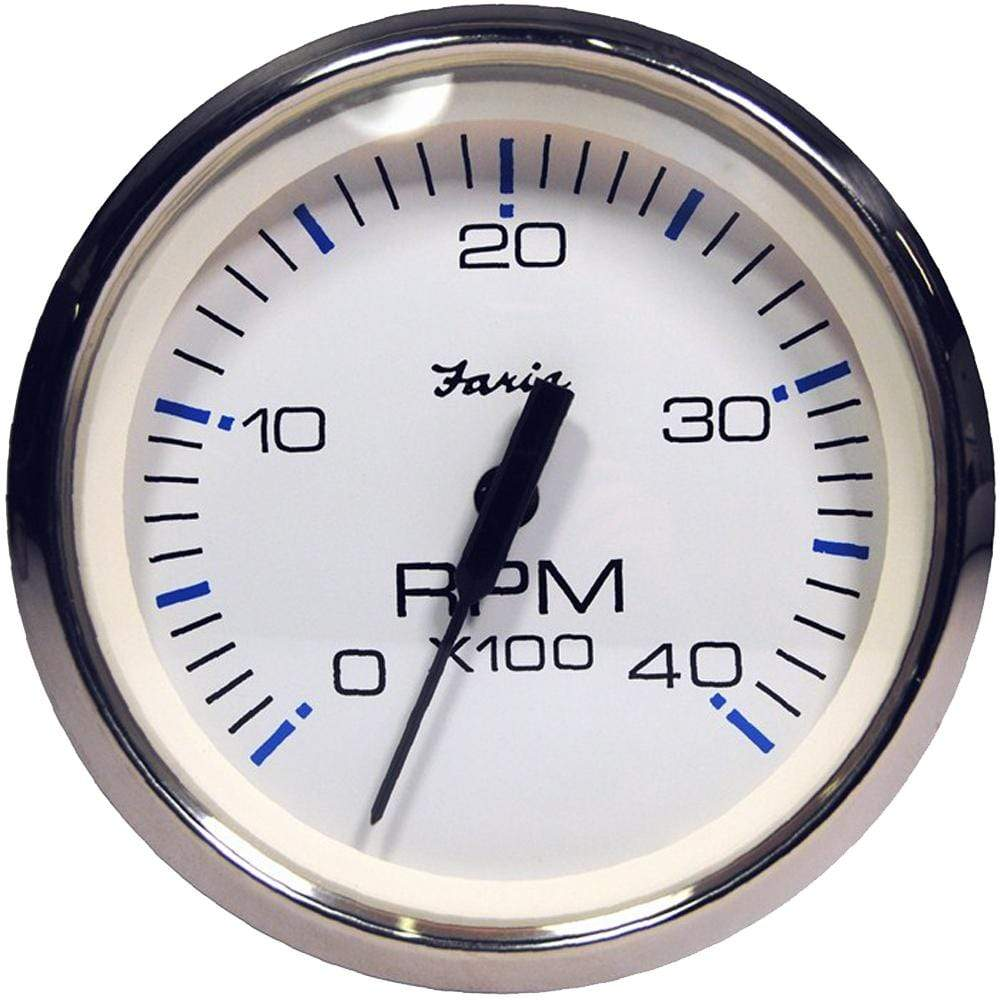 "Faria Qualifies for Free Shipping Faria Chesapeake White Stainless 4"" Tachometer 4000 RPM Diesel #33818"