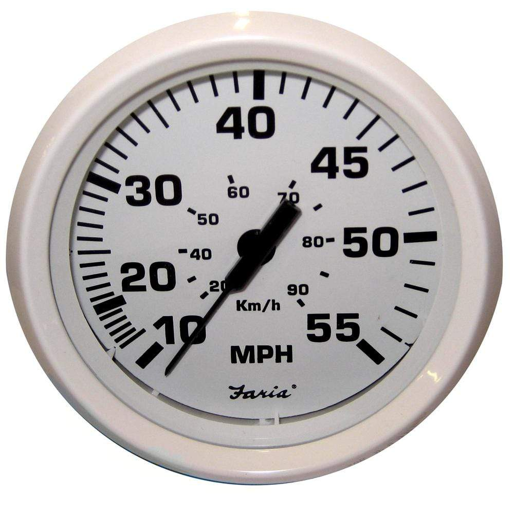 "Faria Qualifies for Free Shipping Faria Dress White 4"" Speedometer 55 MPH Mechanical #33112"