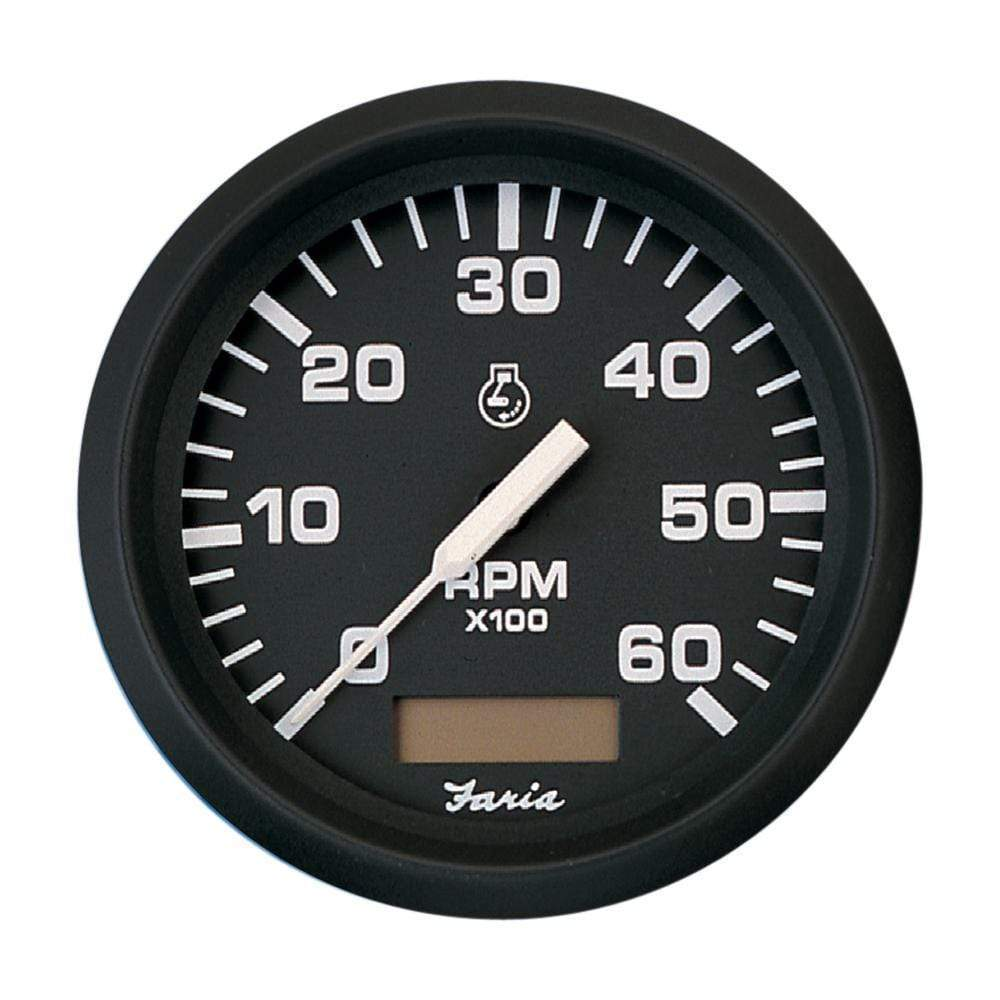 "Faria Qualifies for Free Shipping Faria Euro Black 4"" Tachometer Hourmeter 6000 RPM Gas Inboard #32832"
