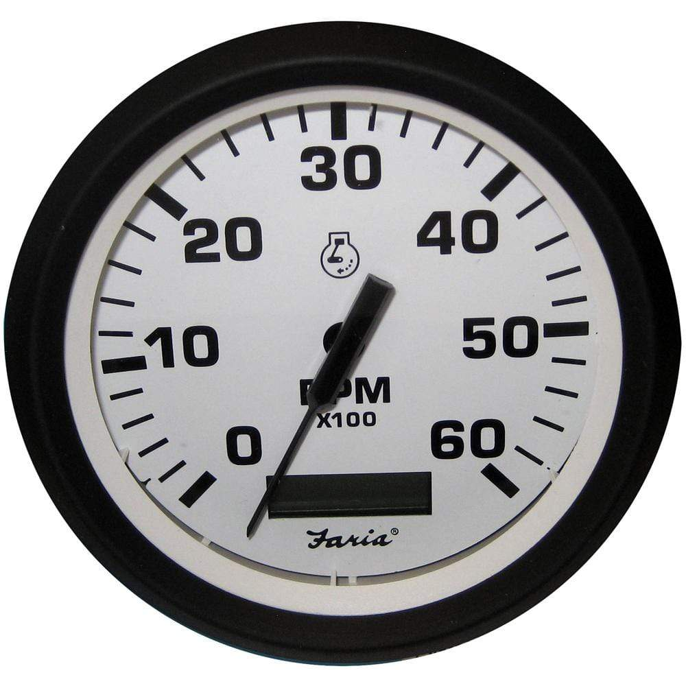 "Faria Qualifies for Free Shipping Faria Euro White 4"" Tachometer Hourmeter 6000 RPM Gas Inboard #32932"