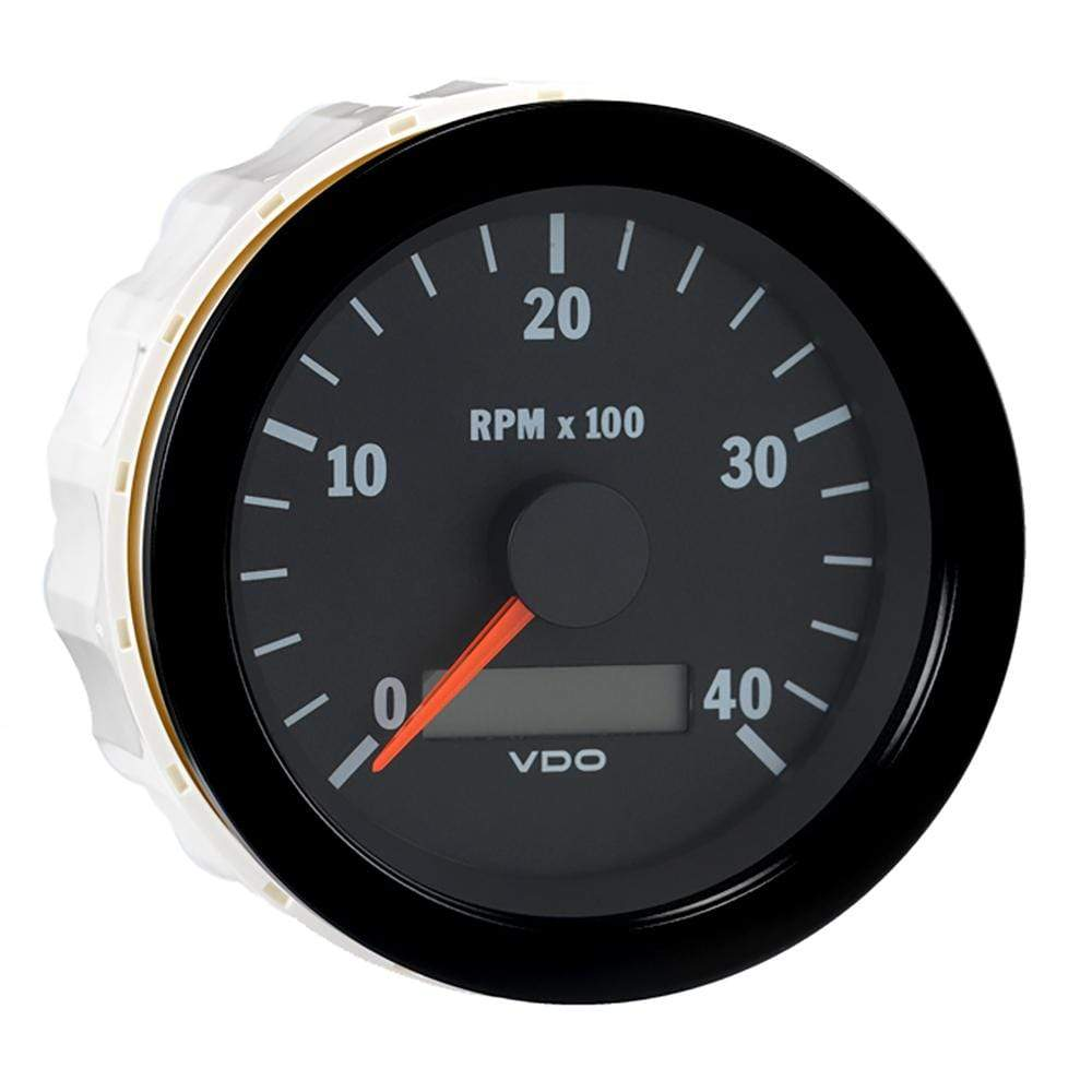 "VDO Qualifies for Free Shipping VDO Vision Black 4000 RPM 3-3/8"" Tachometer with Hourmeter #333-163"