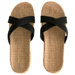 Ebony UNISEX - Beach/House Casual Rattan Linen Slides