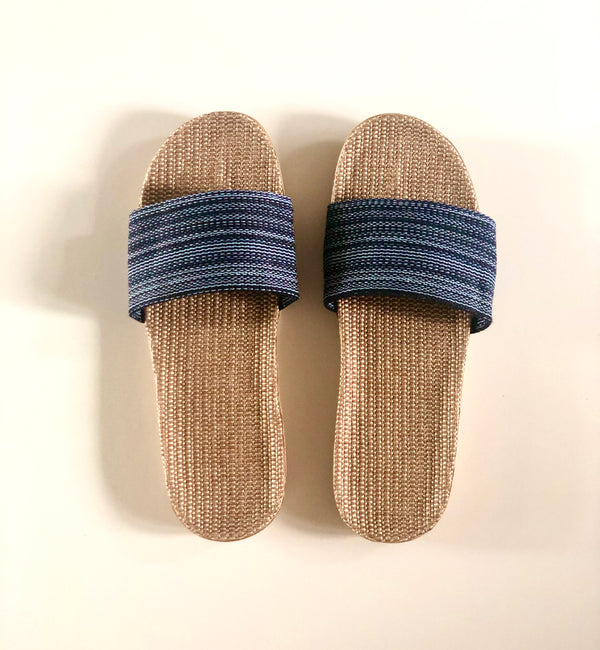 River Blue UNISEX - Beach/House Casual Rattan Linen Slides