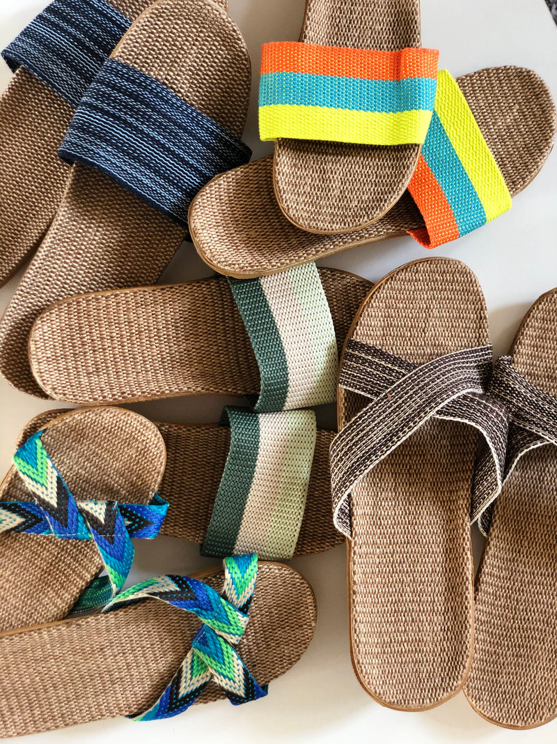 Green Beige UNISEX - Beach/House Casual Rattan Linen Slides m