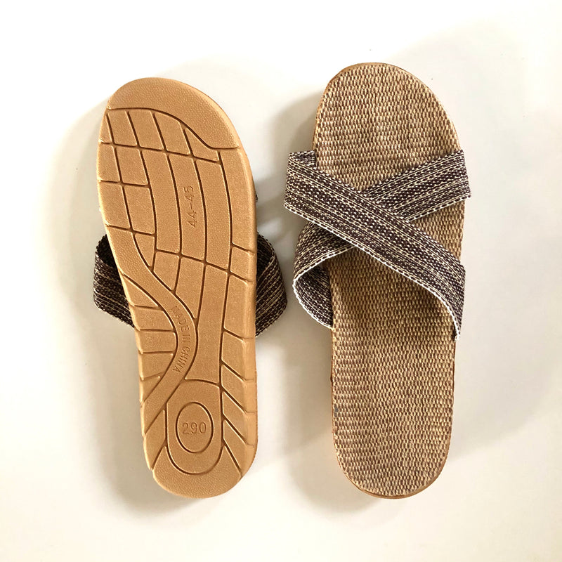 Natural UNISEX - Beach/House Casual Rattan Linen Slides
