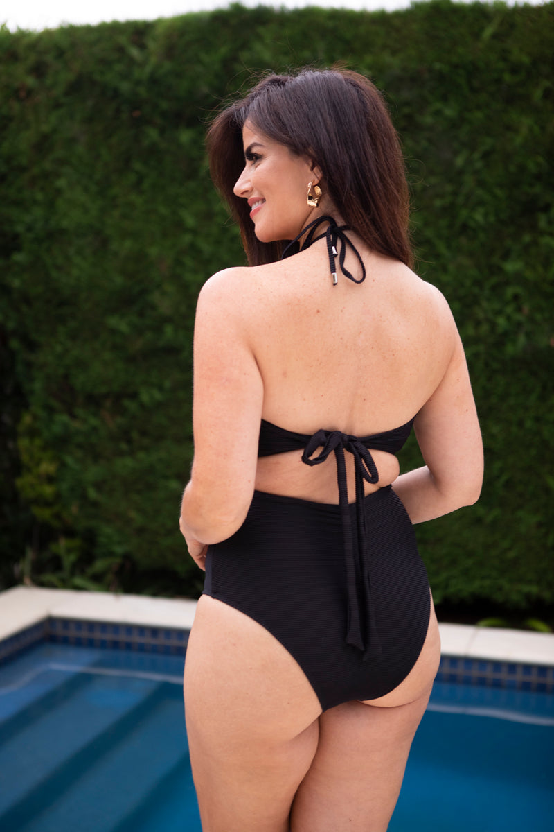 LIANA 'Black Ribbed' One Piece Swimsuit - PRE ORDER ONLY
