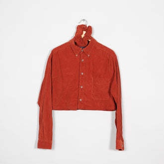 Rework Cropped Cord Blouse With Scrunchie