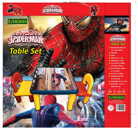 Evergreen Jumbo Table With Two Chairs (Spiderman) - Evergreen Toys