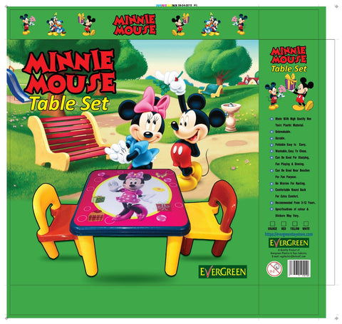 Evergreen Jumbo Table With Two Chairs (Minnie Mouse) - Evergreen Toy Store