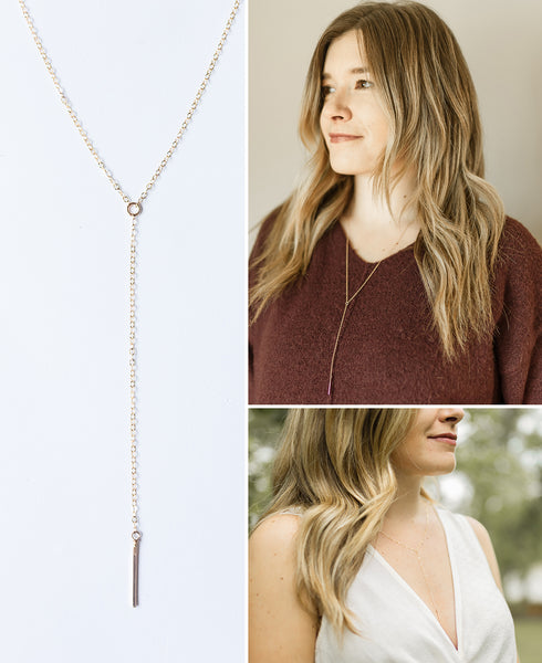 long gold dainty necklace