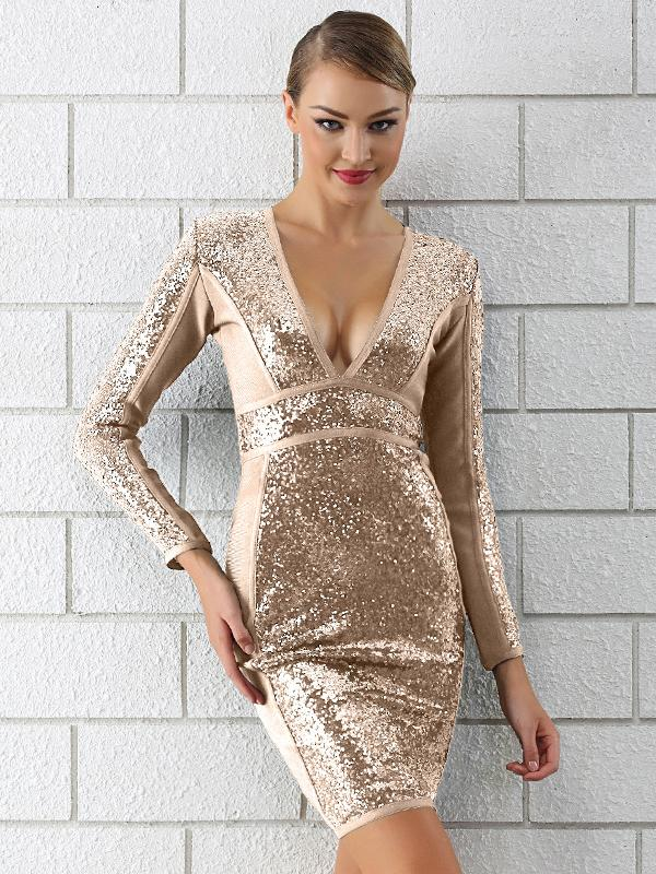 Boutique Deep v Sequins Long Sleeve Dress