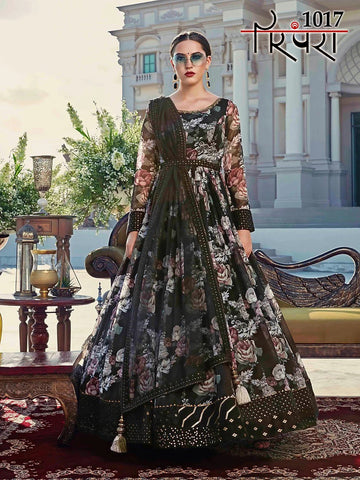 Bella Fancy Dresses US Gowns Partywear Designer Black Abcotton With Digital Print Gown