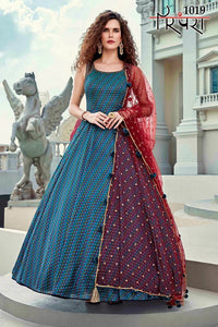 Bella Fancy Dresses US Gowns Partywear Designer Blue Heavy Killer Silk With Digital Print Gown