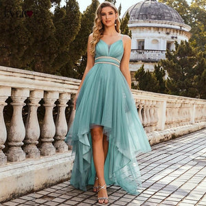 Bella Fancy Dresses US Sage Green Prom Dresses Ever Pretty Elegant  Neck Spaghetti Straps High Low Ruffle Dress 2021