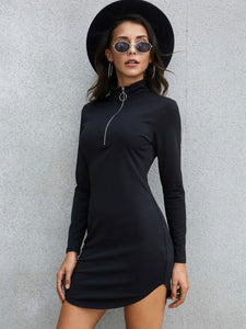 Bella Fancy Dresses US Western Wear Autumn Black Mock Neck Long Sleeve Dress