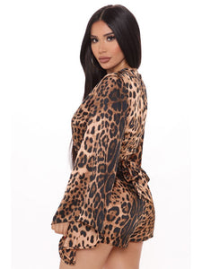 Bella Fancy Dresses US Western Wear V Neck Leopard Long Sleeve Romper