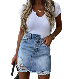 Bella Fancy Dresses US Woman Trendy Retro Washed A Line Denim Skirt Female Fashion Summer High Waist Denim Skirts Elastic Butto Bodycon Hip jeans