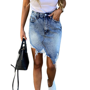Bella Fancy Dresses US Woman Trendy Retro Washed Irregular Denim Skirt Female Fashion Summer High Waist Denim Elastic Bodycon Hip jeans Pencil Skirts