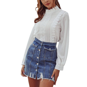 Bella Fancy Dresses US Woman Washed A Line Denim Skirt Female Fashion Summer High Waist Denim Pocket Button Ripped Bodycon Hip jeans Skirts