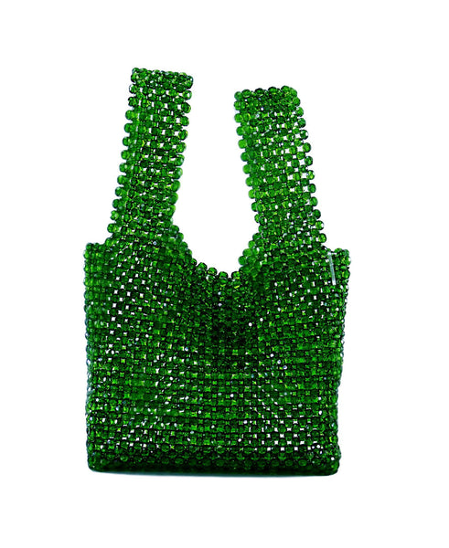 MILANBLOCKS Handbags & Purses Green Beaded Shopping Bag Designer Vintage Purse