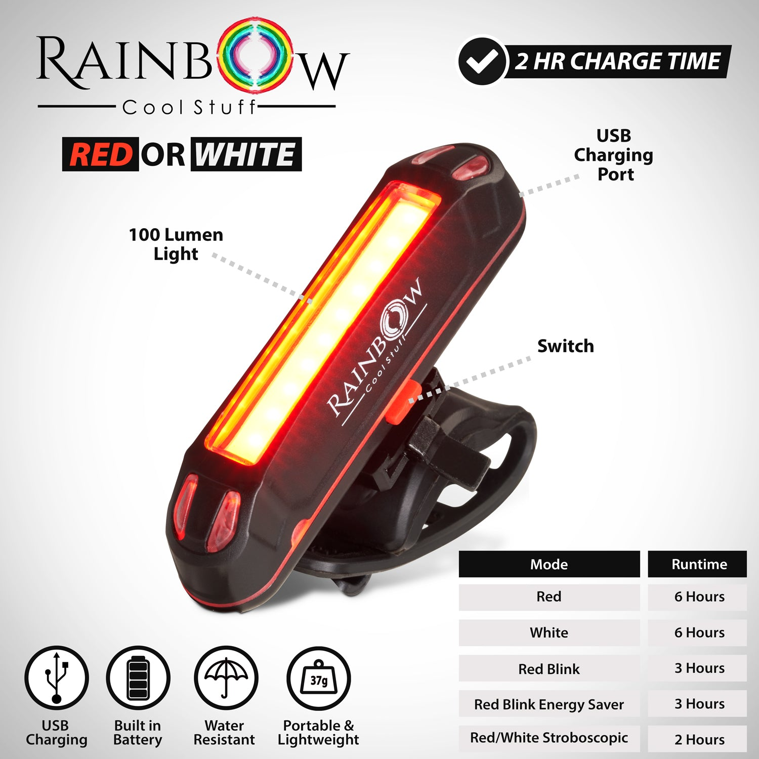 Bike Lights Set LED USB rechargeableRainbow Cool Stuff Front and Back