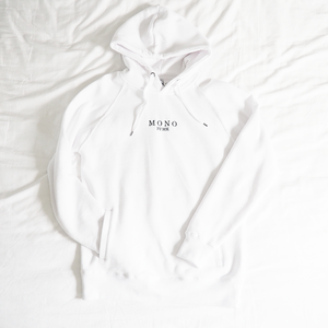 White Embroidered Logo Hoody