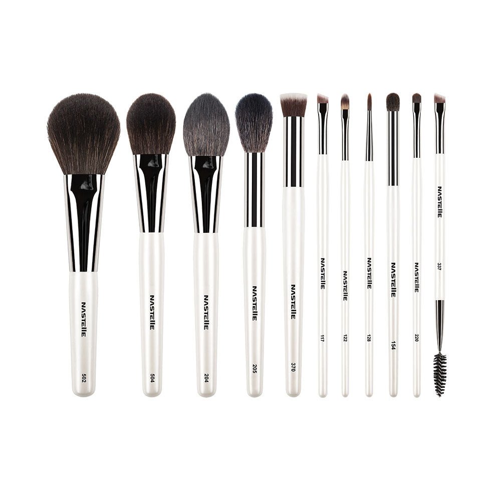 Set din 11 pensule albe NASTELLE Professional Makeup Brushes Pearl White SN11