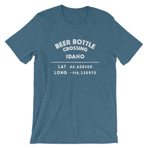 """Beer Bottle Crossing, Idaho""- Unisex Short-Sleeve T-Shirt"