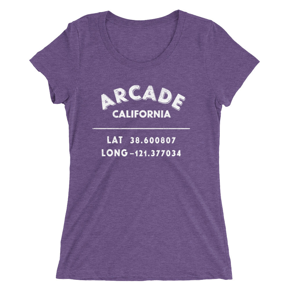 """Arcade, California""- Ladies' short sleeve t-shirt"