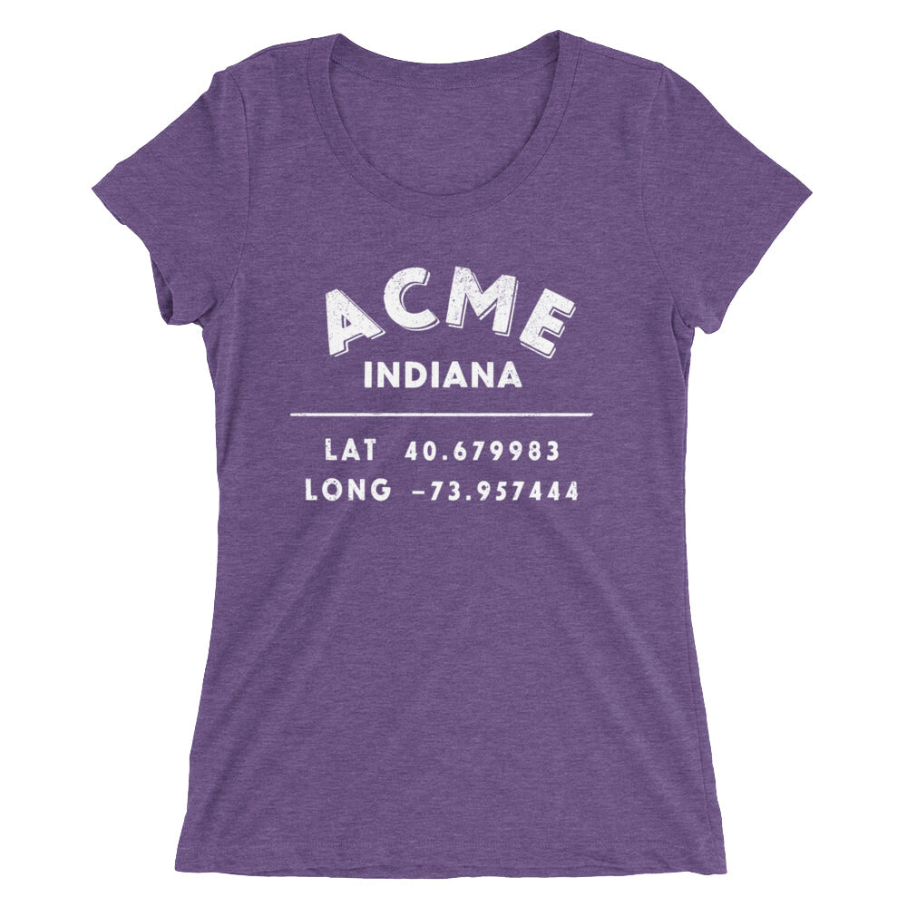 """Acme, Indiana""- Ladies' short sleeve t-shirt"