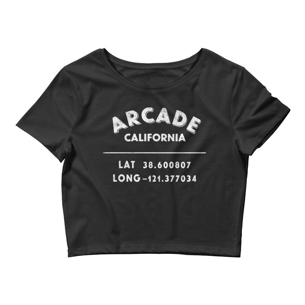 """Arcade, California""- Women's Crop Tee in Black"