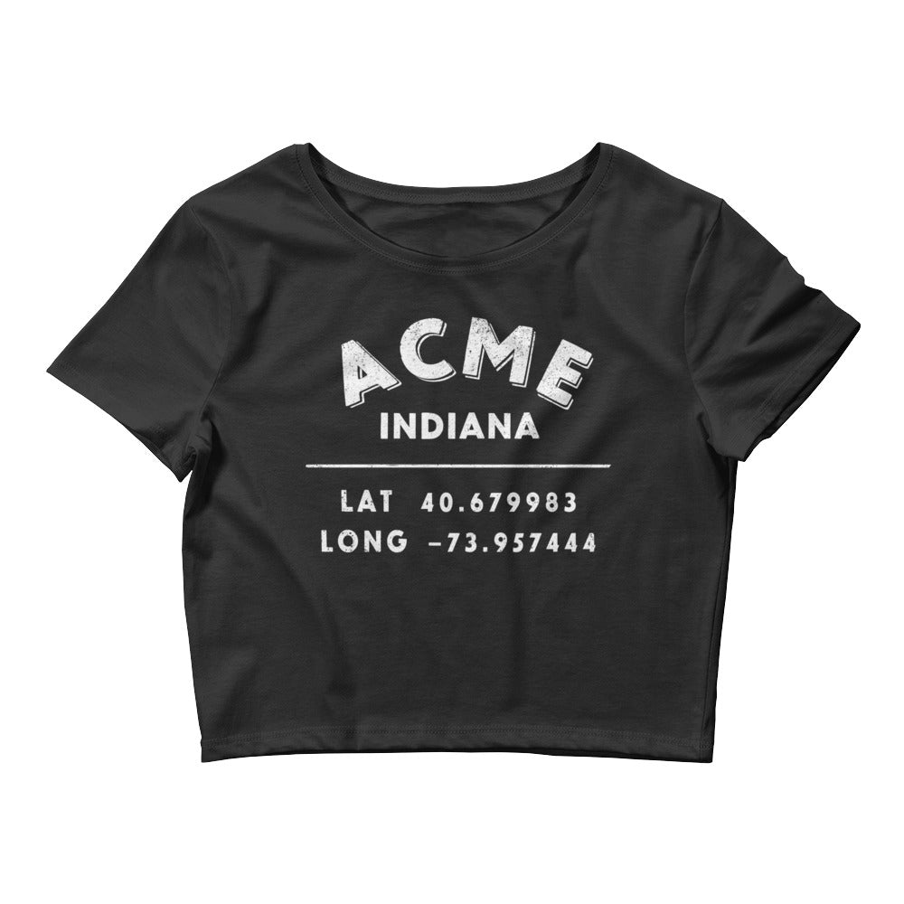 """Acme, Indiana""- Women's Crop Tee in Black"