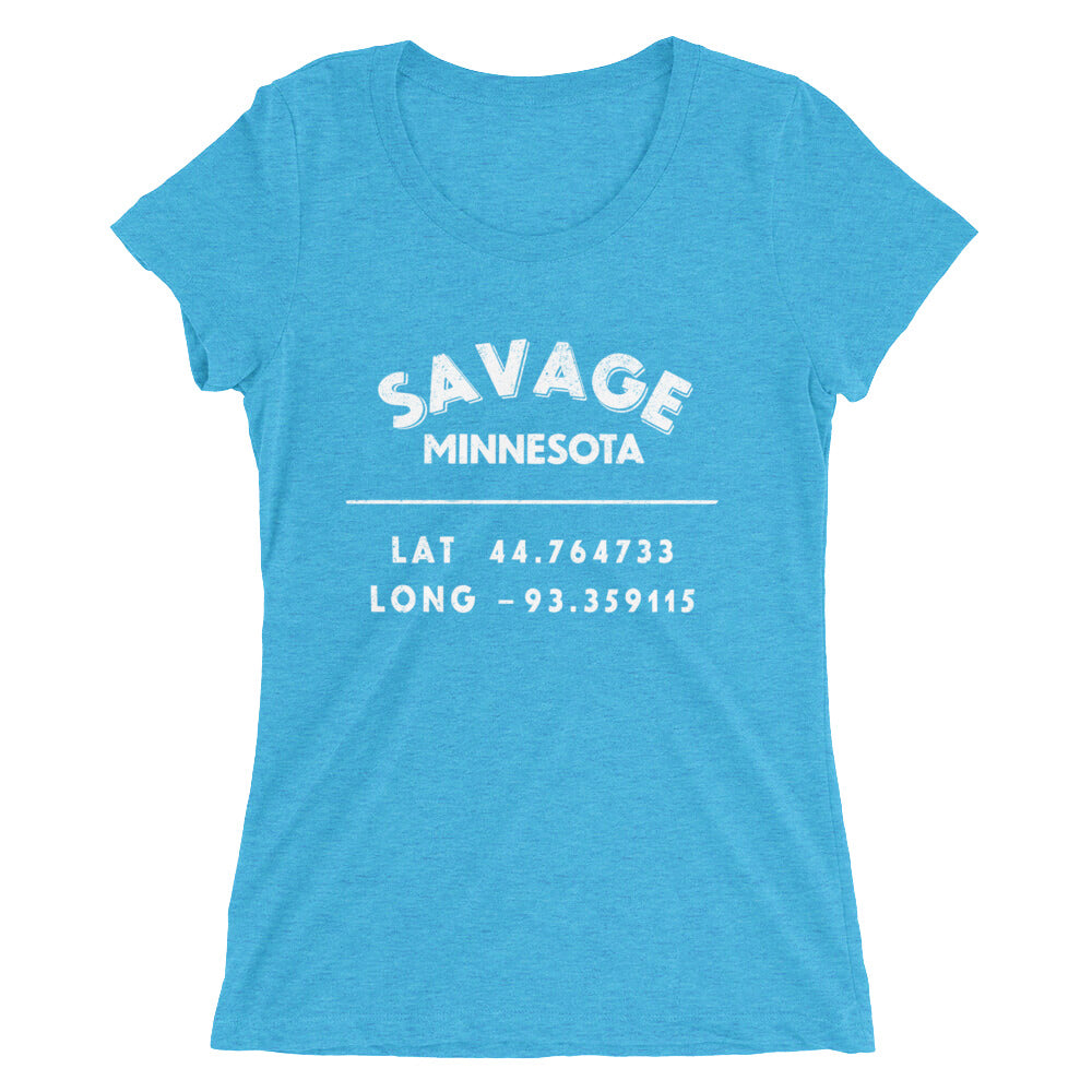 """Savage, Minnesota""- Ladies' short sleeve t-shirt"