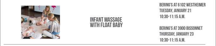 SOLD OUT!! Float Baby Infant Massages at Bering's, 1/21 & 1/23