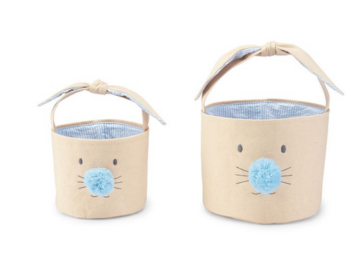 Blue Easter Bunny Canvas Basket Set by Mudpie